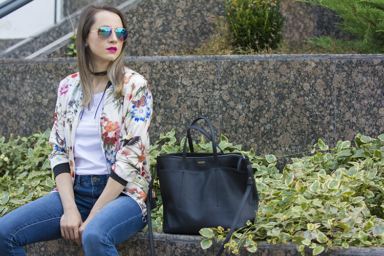 floral birds bomber jacket