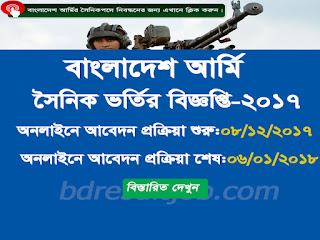 Bangladesh Army Sainik Recruitment Circular 2017