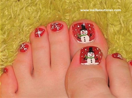 Snowman winter toe nail design