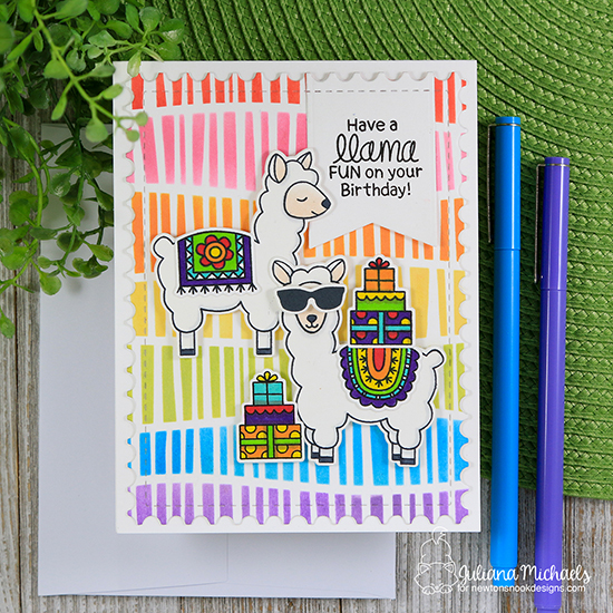 A Llama Fun Birthday Card by Juliana Michaels | Loveable Llamas Stamp Set and Serene Stripes Stencil by Newton's Nook Designs #newtonsnook #handmade