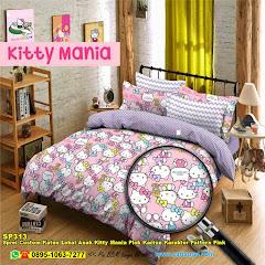 Sprei Custom Katun Lokal Anak Kitty Mania Pink Kartun Karakter Pattern Pink