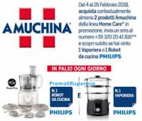 Logo Amuchina: vinci ogni giorno Vaporiera e Robot Philips