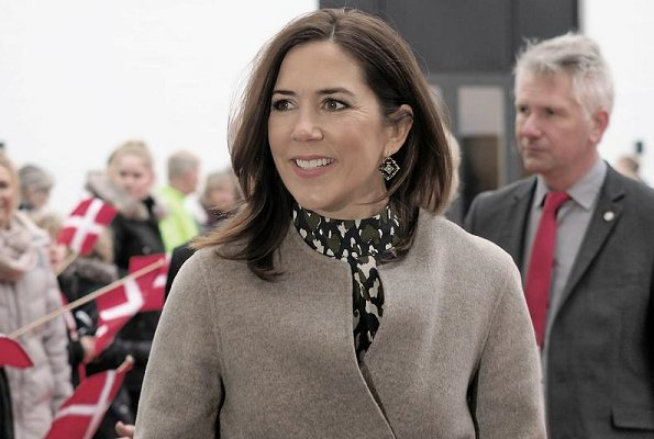 Crown Princess Mary wore Joseph double cashmere oslo coat, Proenza Schouler Blue Layered Chiffon Blouse, and Baum und Pferdgarten top