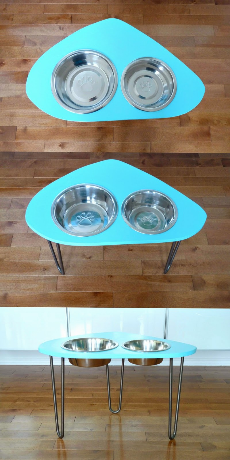 DIY Aqua Raised Dog Bowl Stand