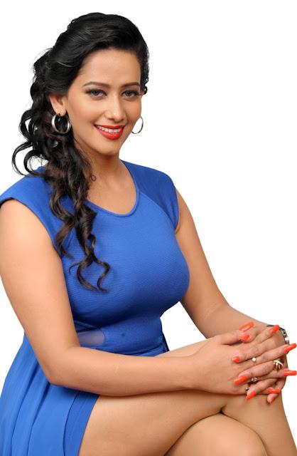 South Actress Sanjana Singh Hot In Blue Dress