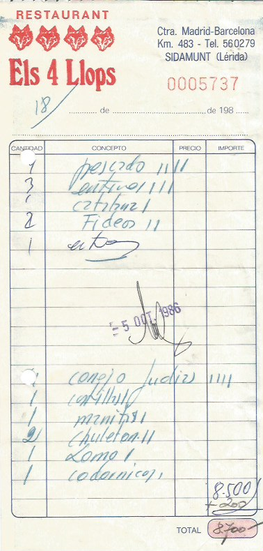 Factura de la comida en Sidamnut en octubre de 1986