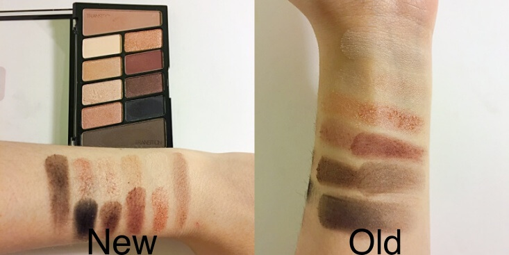 wet n wild coloricon 10 Pan Eyeshadow Palette old vs new Nude Awakening swatches