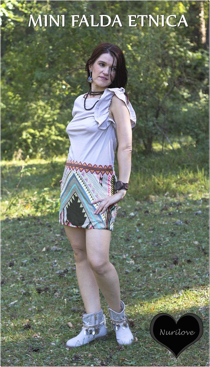 Mini falda étnica muy veraniega y colorida