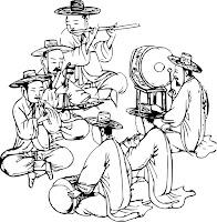 דף צביעה להקת נגנים