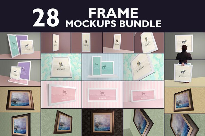 28 Poster Frame Mockup Bundle
