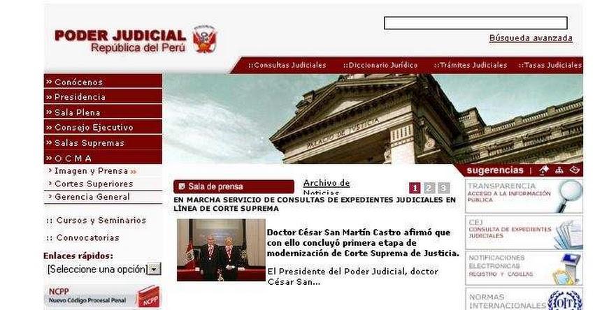 Consultas de Expedientes Judiciales se podrá realizar a través de página web: www.pj.gob.pe