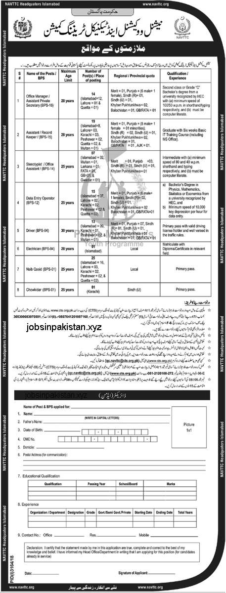 Advertisement for NAVTTC Jobs January 2019