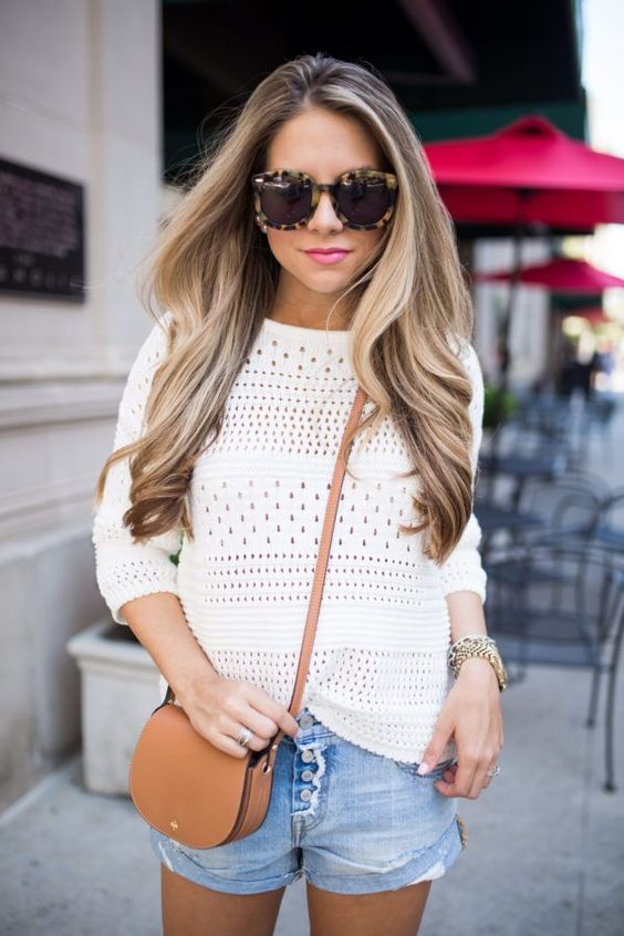 trendy outfit idea / white knit top + bag + shorts