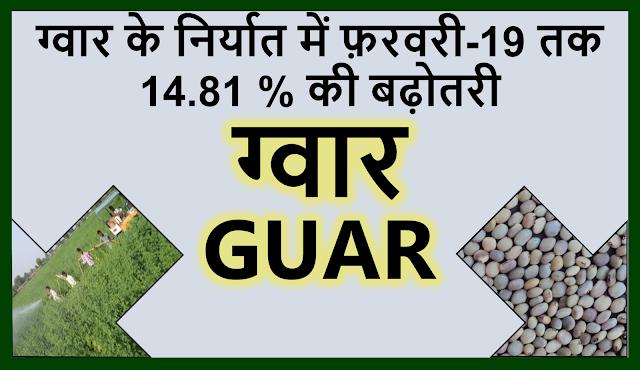 ग्वार के निर्यात में अप्रेल 2018 से फ़रवरी 2019 तक 14.81 % की बढ़ोतरी     Guar, guar gum, guar price, guar gum price, guar demand, guar gum demand, guar seed production, guar seed stock, guar seed consumption, guar gum cultivation, guar gum cultivation in india, Guar gum farming, guar gum export from india , guar seed export, guar gum export, guar gum farming, guar gum cultivation consultancy, today guar price, today guar gum price, ग्वार, ग्वार गम, ग्वार मांग, ग्वार गम निर्यात 2018-2019, ग्वार गम निर्यात -2019, ग्वार उत्पादन, ग्वार कीमत, ग्वार गम मांग, Guar Gum, Guar seed, guar , guar gum, guar gum export from india, guar gum export to USA, guar demand USA, guar future price, guar future demand, guar production 2019, guar gum demand 2019