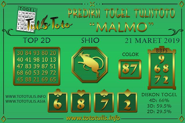 Prediksi Togel MALMO TULISTOTO 21 MARET 2019