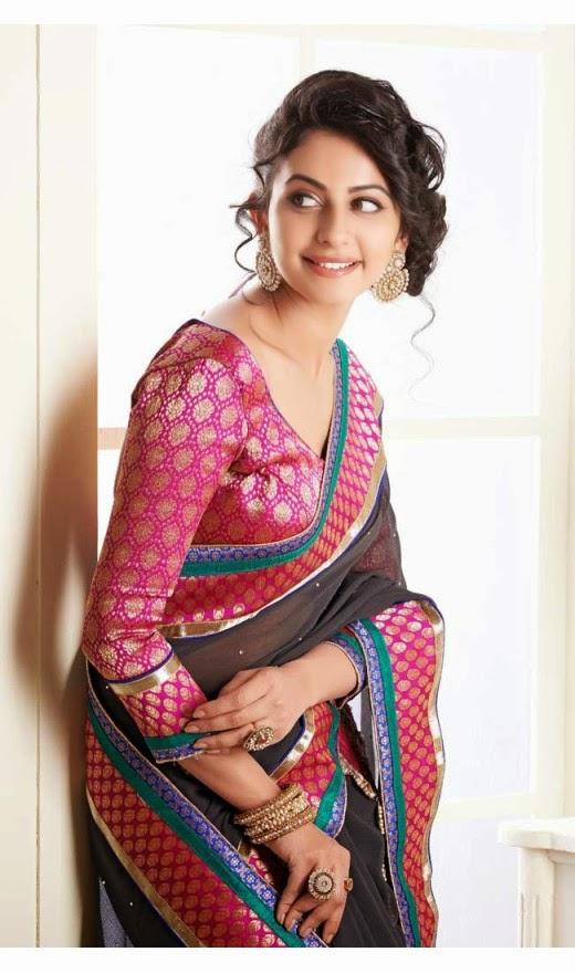 Tollywood Actress  Rakul Preet Singh Photos In Charming Pale Black Embroidered Saree