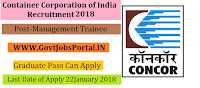 Container Corporation of India Recruitment 2018 – Management Trainee