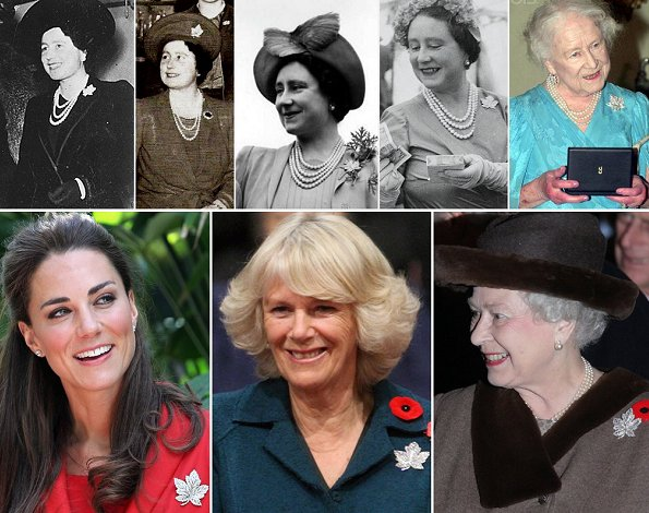 According to the Royal Collection Trust, the platinum and diamond maple leaf brooch, Elizabeth II Queen Elizabeth, King George, Duchess of Cambridge, kate Middleton