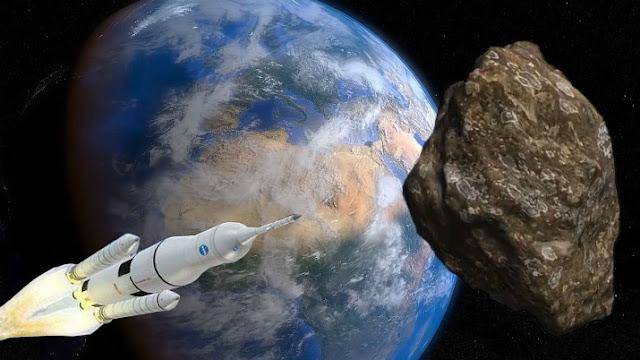ilustração artística de nave espacial indo em direção a um asteroide