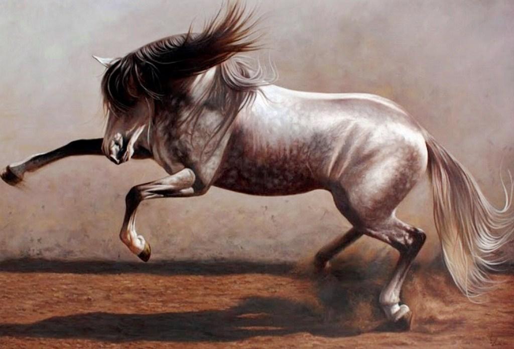 Pintura Moderna Y Fotografía Artística Caballos Corriendo