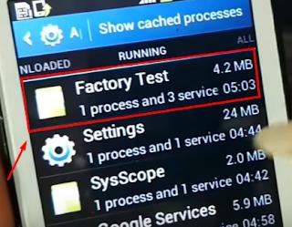 pilih menu Factory Test