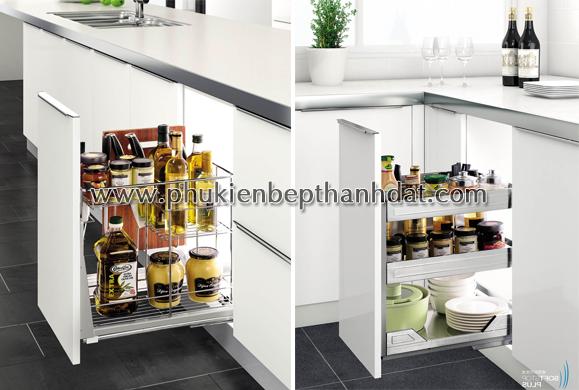 Kệ gia vị âm tủ bếp giúp nhà bếp gọn gàng, thao tác thuận tiện