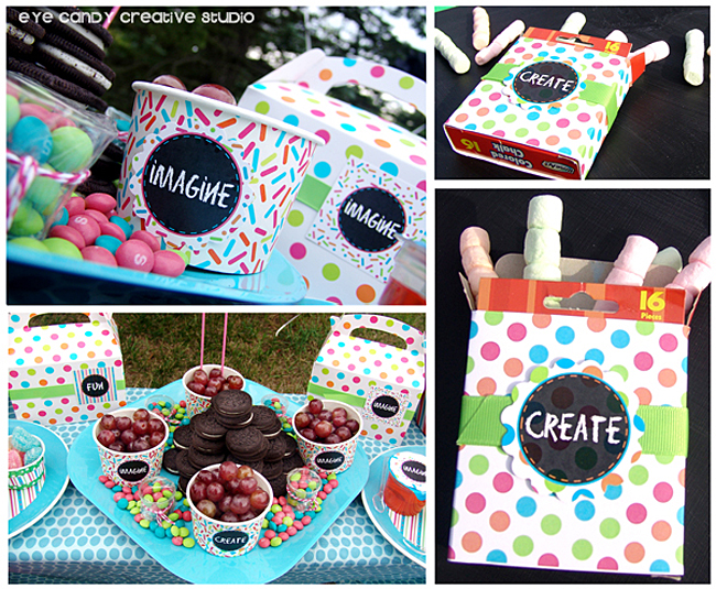 food ideas for art party, create, imagine, marshmallow chalk, oreos, skittles
