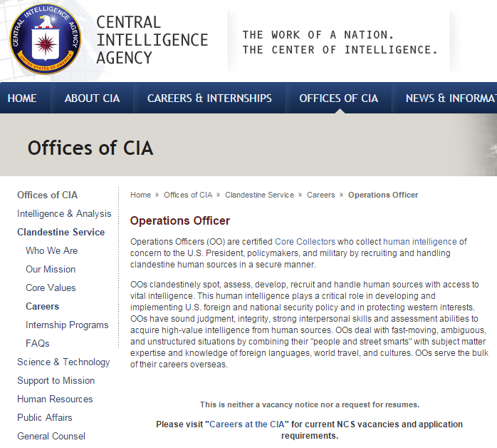CIA Jobs - Operations Officer