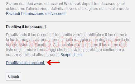 Facebook impostazione Disattiva il tuo account