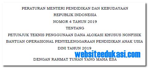 Permendikbud Nomor 4 Tahun 2019 Tentang Juknis BOP PAUD 2019