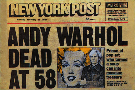 Image result for pop artist andy warhol died