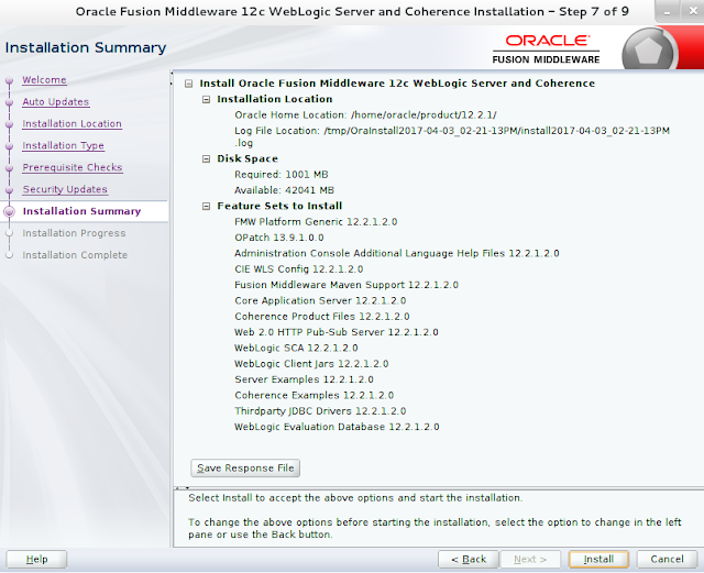 Weblogic Server Installation wizard screen 7