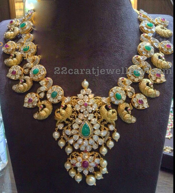 Pachi Work Mango Necklace by Satyanarayana Jewellery