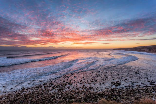Beautiful sunrise over Blast Beach at Seaham