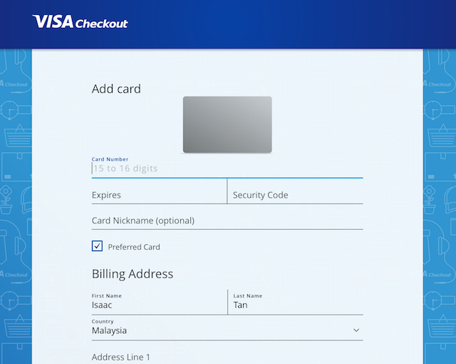 Remember to enter your credit card and billing / shipping address the first time you register at Visa Checkout