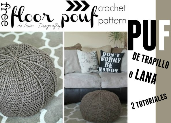 Pufs de crochet 2 tutoriales. Uno con lana y otro de trapillo