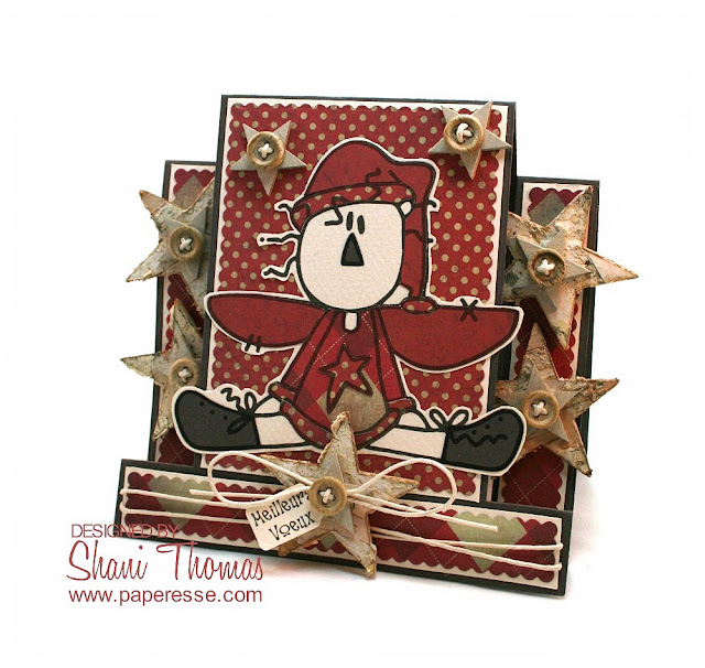 Step card with Bugaboo Christmas Prim Angel digital stamp, by Paperesse.