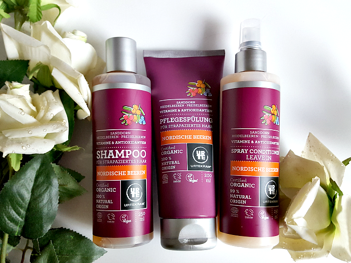 URTEKRAM Nordische Beeren Haar Produkte - Shampoo, Spülung, Leave-In Spray Conditioner