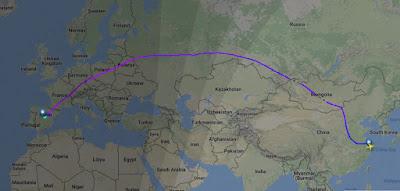 ruta aérea madrid shanghai directo