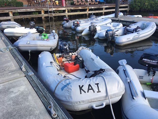 inflatable dinghy with Yamaha outboard 2-stroke motor