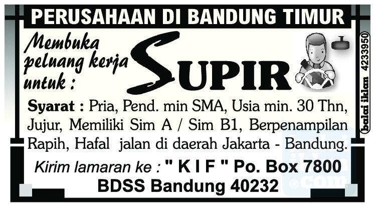 Peluang Kerja Supir Bandung Mei 2016