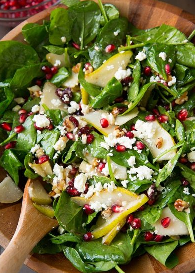 Pear, Pomegranate and Spinach Salad #salad #healthyrecipe