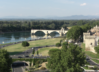 Rhone River - Avignon, with bridge reflection