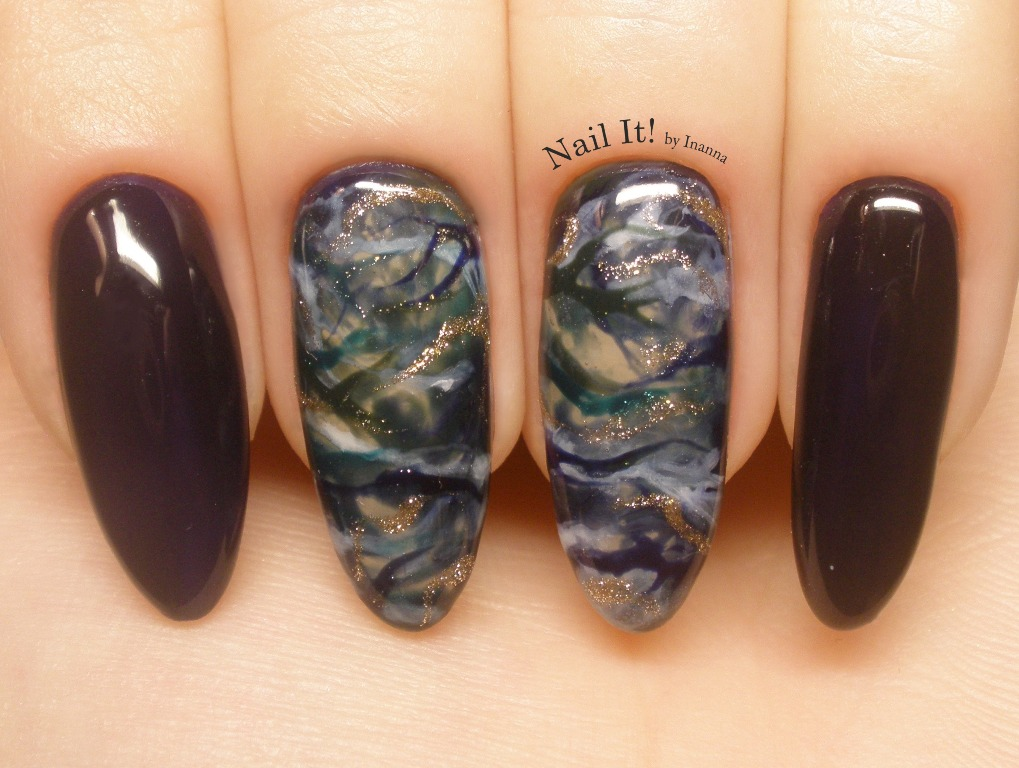 "Navy Marble Nail Art (""Black Madonna"", ""Blue Buddha"", ""Admiral"", ""Alter Ego"" and ""5th Avenue"" gel polishes by Indigo Nails)"