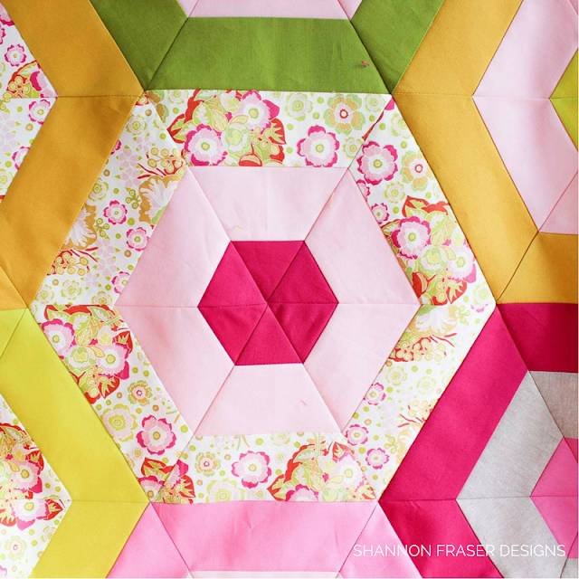 Blooming Peonies Quilt | Shannon Fraser Designs | Hexie Stripe Quilt Pattern by Suzy Quilts | Modern Quilt | Hexies | Anna Maria Horner Floral | Kona Cotton