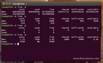 How much ram used command Linux terminal