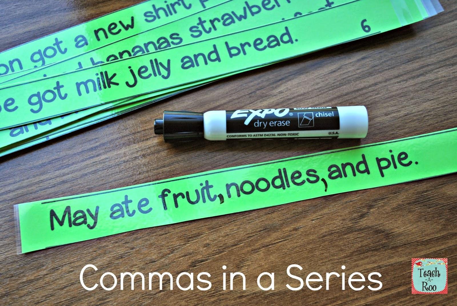 Teach A Roo Commas In A Series