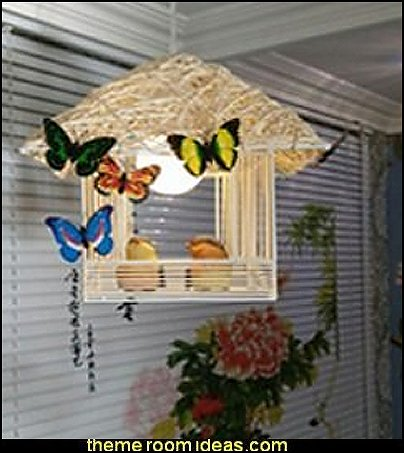 Rattan Chandelier Cage Bird  birdcage bedroom ideas - decorating with birdcages - bird cage theme bedroom decorating ideas - bird themed bedroom design ideas - bird theme decor - bird theme bedding - bird bedroom decor - bird cage bedroom decor - bird cage lighting