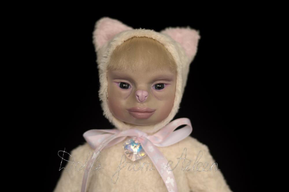 ooak artist teddy cat doll's face closeup