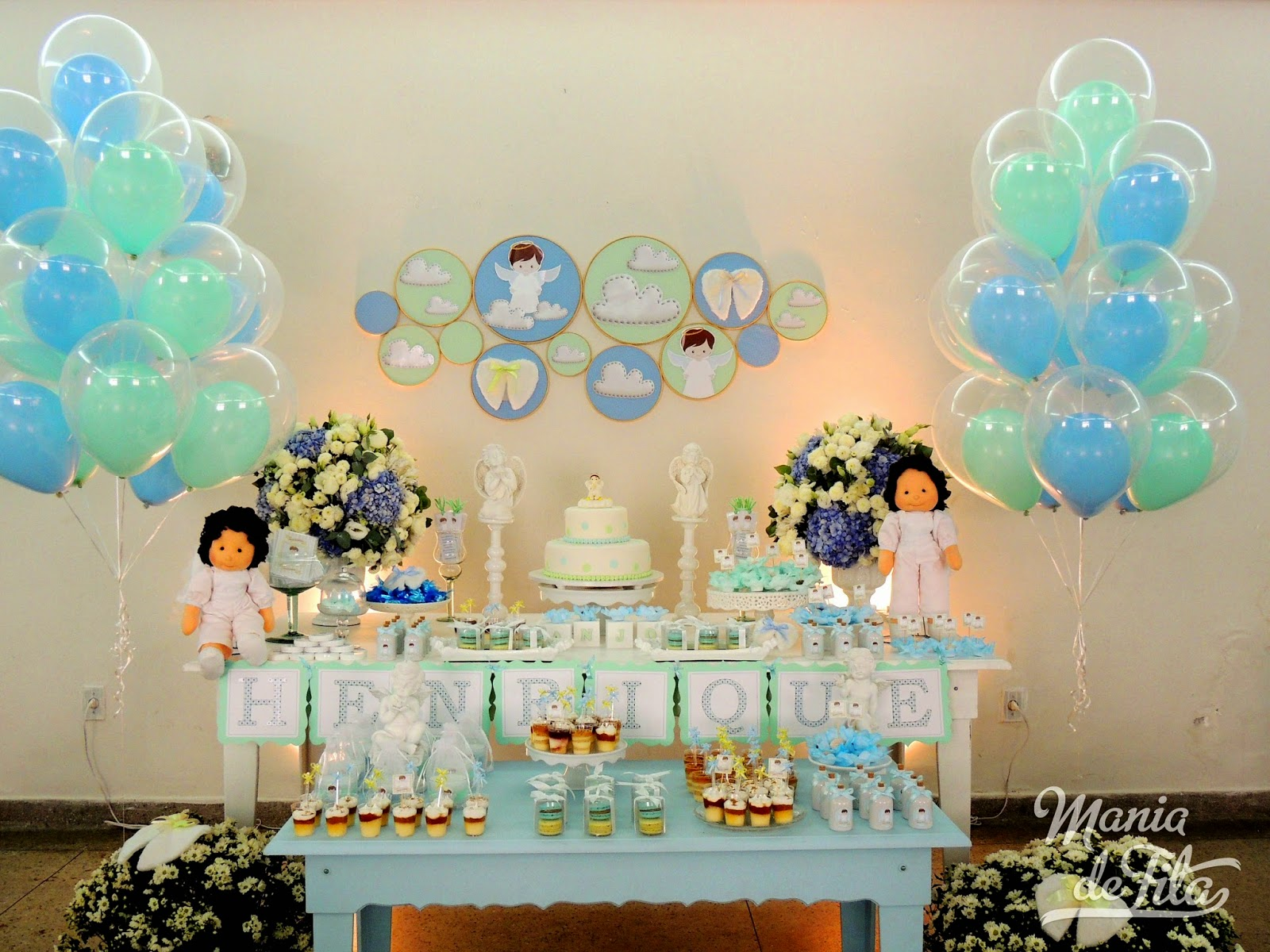 Batizado Anjos  azul claro e verde gua  Mania de Fita